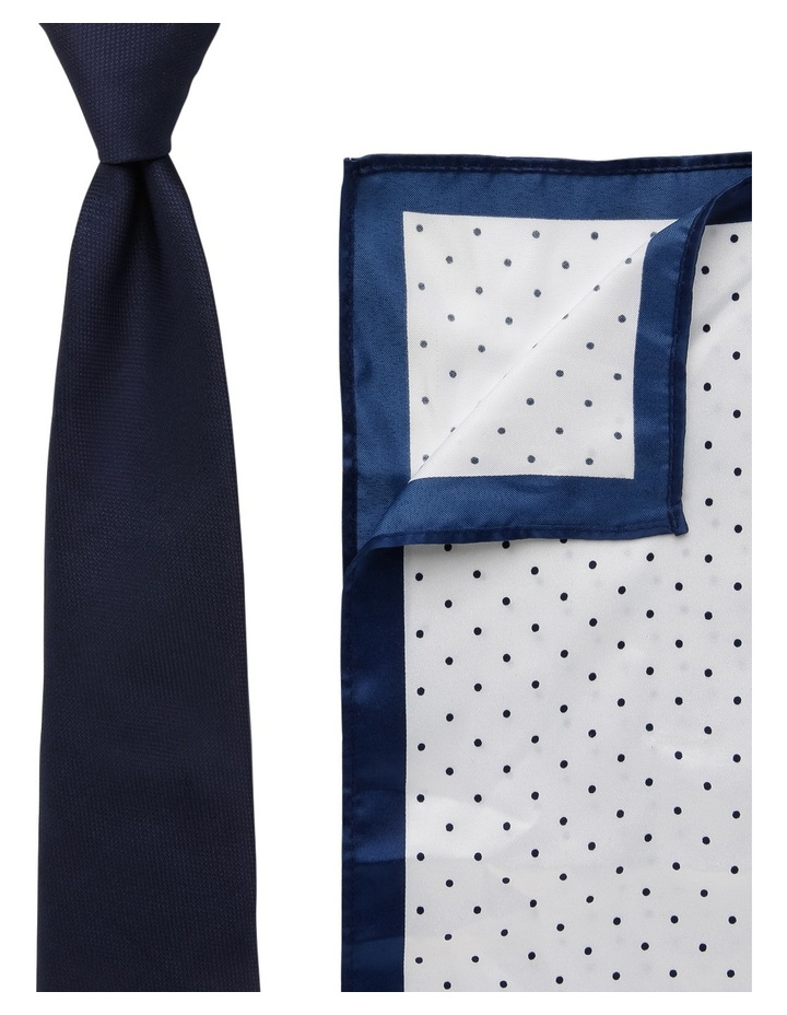 Plain/Spot Poly Tie / Pocket Sqaure Navy/Navy image 1