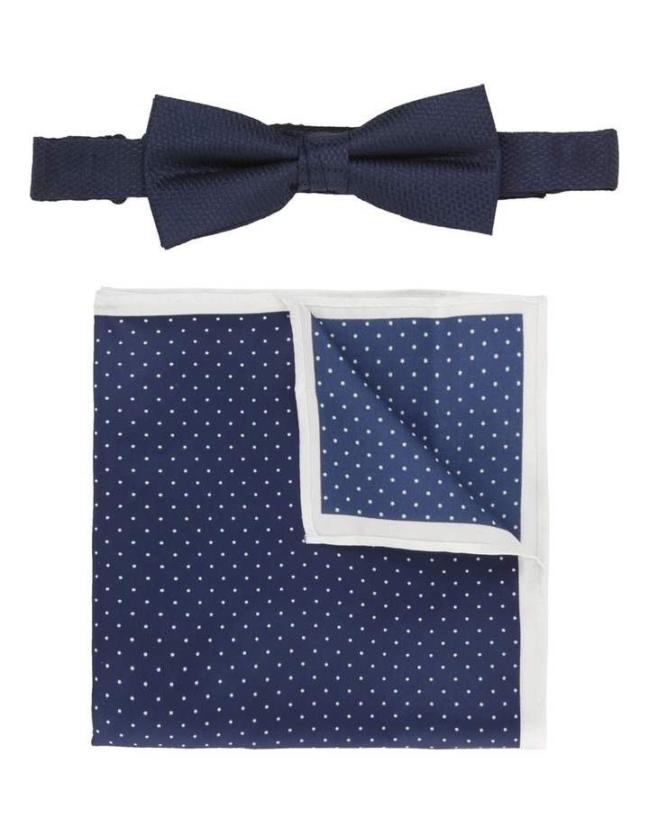 Plain/Spot Poly Bow Tie / Pocket Square Navy/Navy image 1