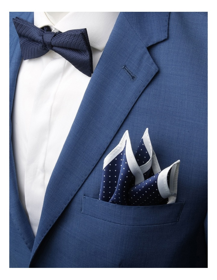 Plain/Spot Poly Bow Tie / Pocket Square Navy/Navy image 2