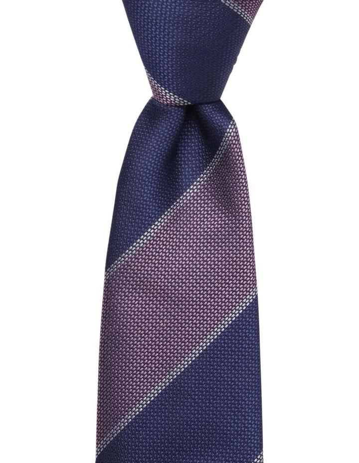 Stripe Silk Tie Navy/Pink image 1