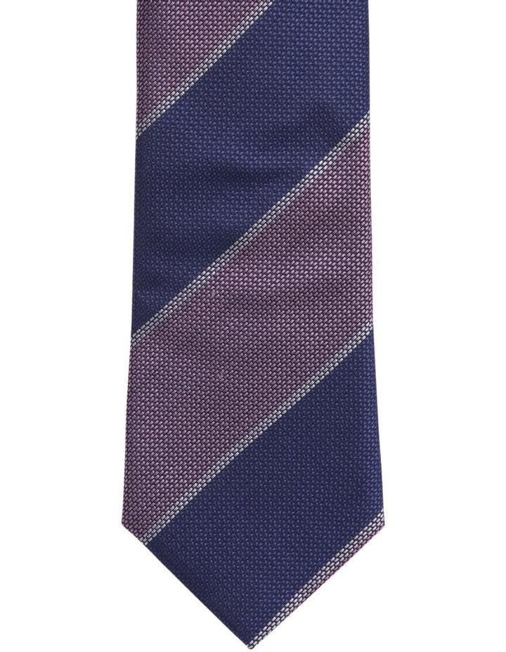 Stripe Silk Tie Navy/Pink image 2
