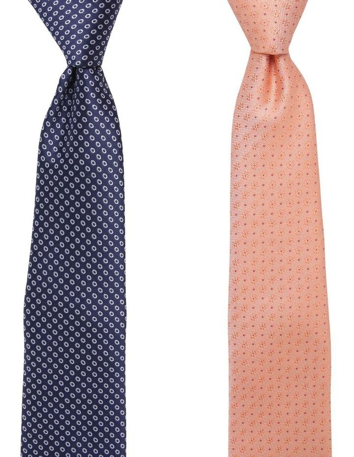 Geo/Spot Tie Gift Pack Navy/Orange 2 Pack Tie image 1