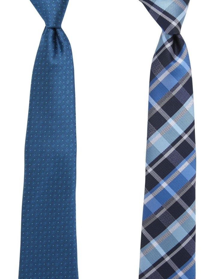 Check/Spot Tie Gift Pack Navy/Teal 2 Pack Tie image 1