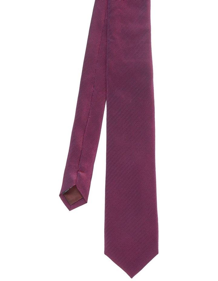 Ugol Burgundy Herringbone Silk Tie image 1