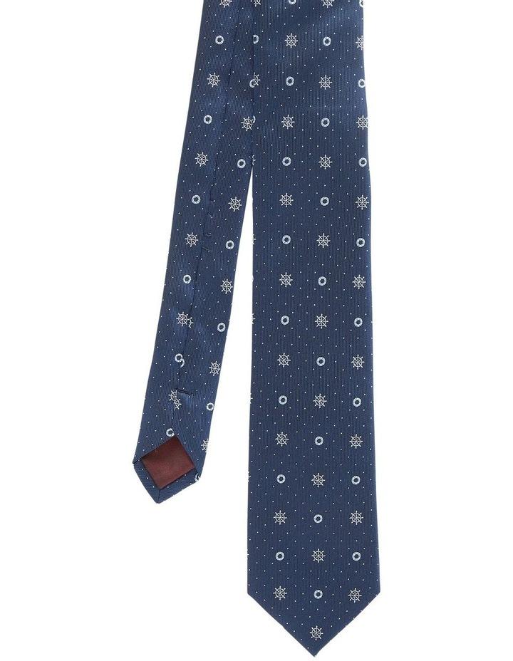 Yakor Navy Jacquard Silk Tie image 1