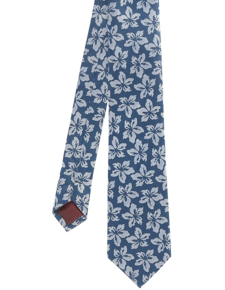 Tvesty Navy And Grey Floral Silk Tie image 1