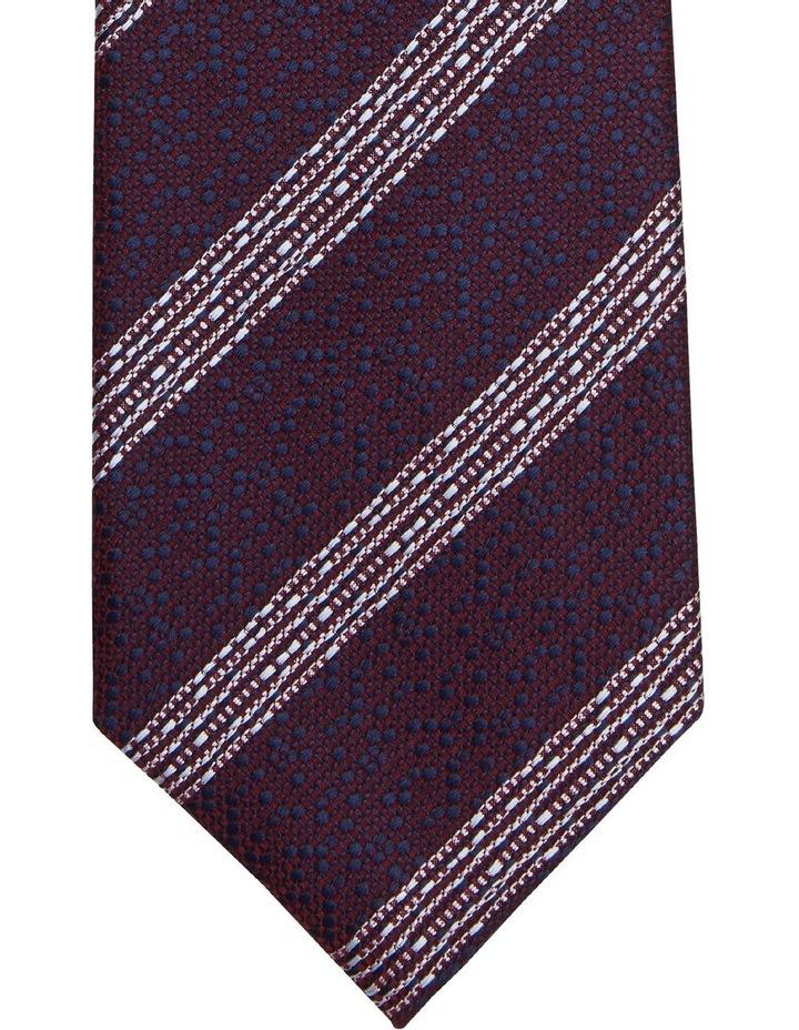 Van Heusen Burgundy Geo & Stripe Poly Tie image 2
