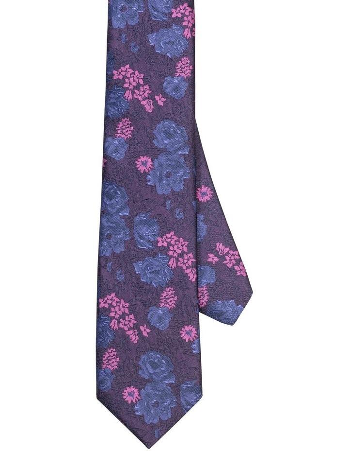 Van Heusen Mauve & Blue Floral Poly Tie image 1