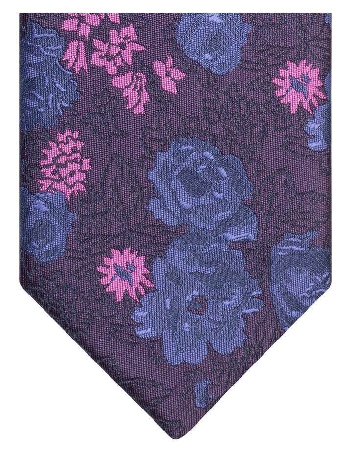 Van Heusen Mauve & Blue Floral Poly Tie image 2