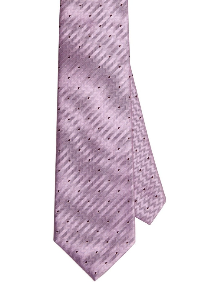 Van Heusen Pink Herringbone Stripe With Dot Poly Tie image 1