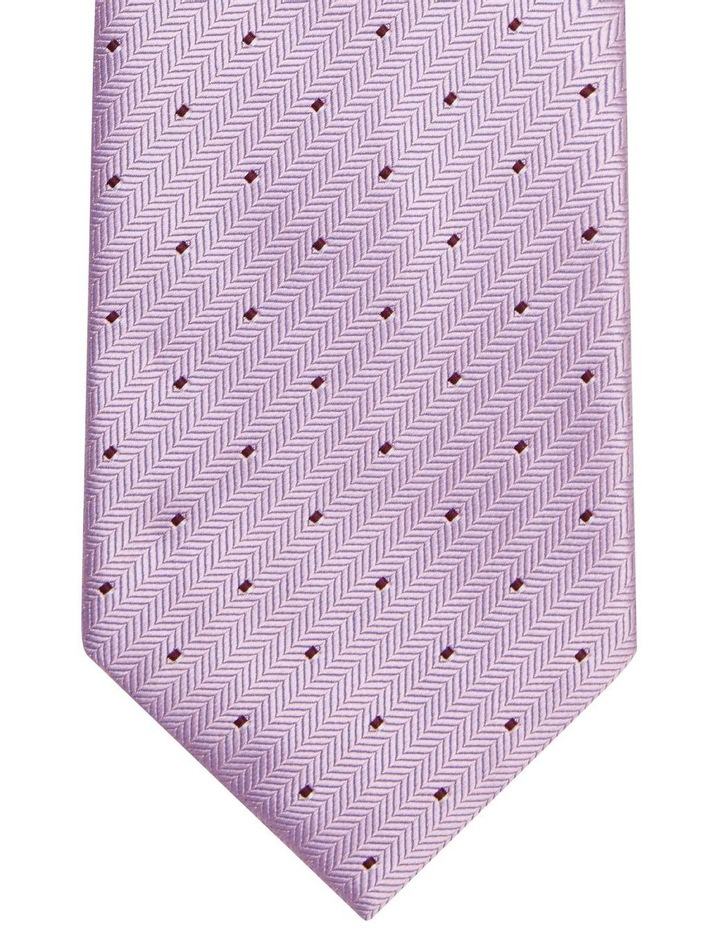 Van Heusen Pink Herringbone Stripe With Dot Poly Tie image 2