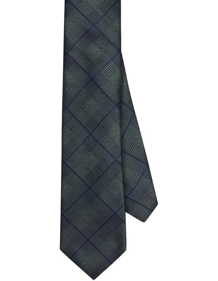 Van Heusen Green & Navy Check Poly Tie image 1