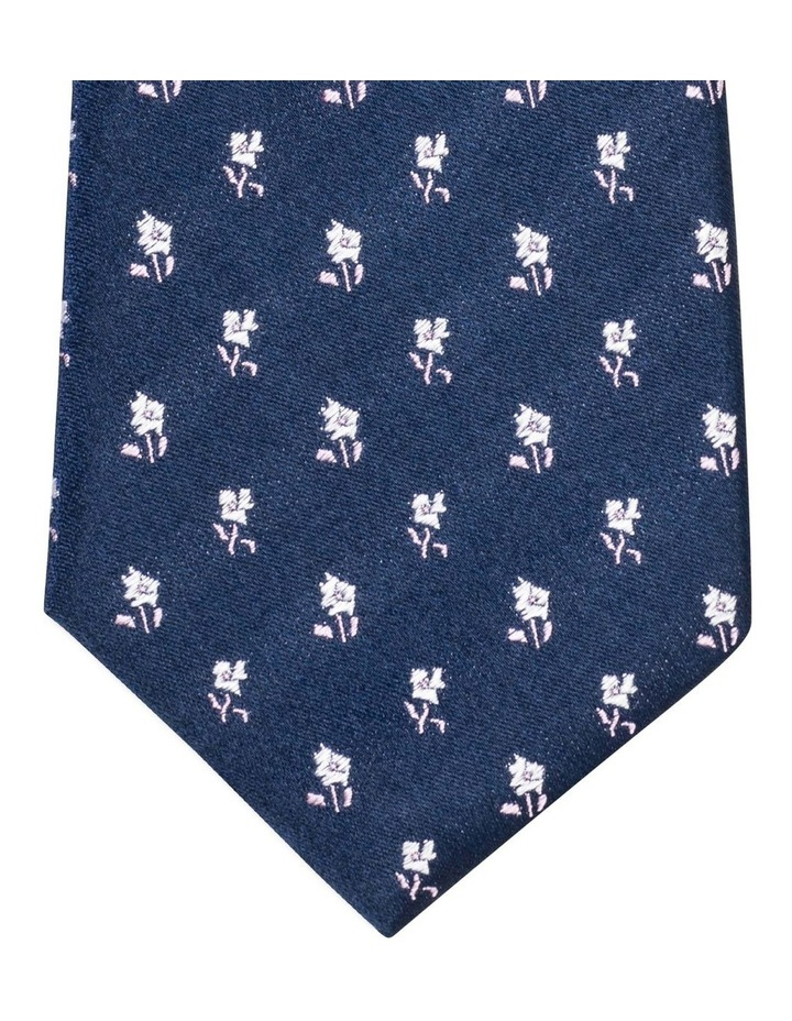 Van Heusen Navy With White & Mauve Floral Silk Tie image 2