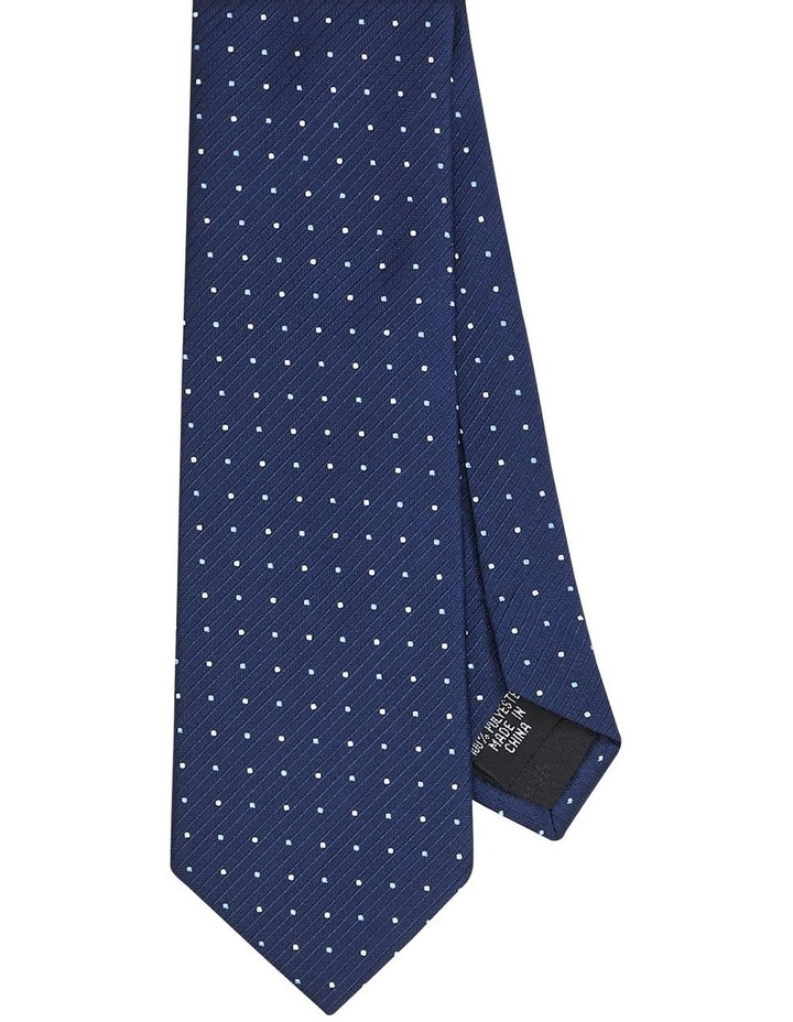 Spotted Poly Tie Navy image 1