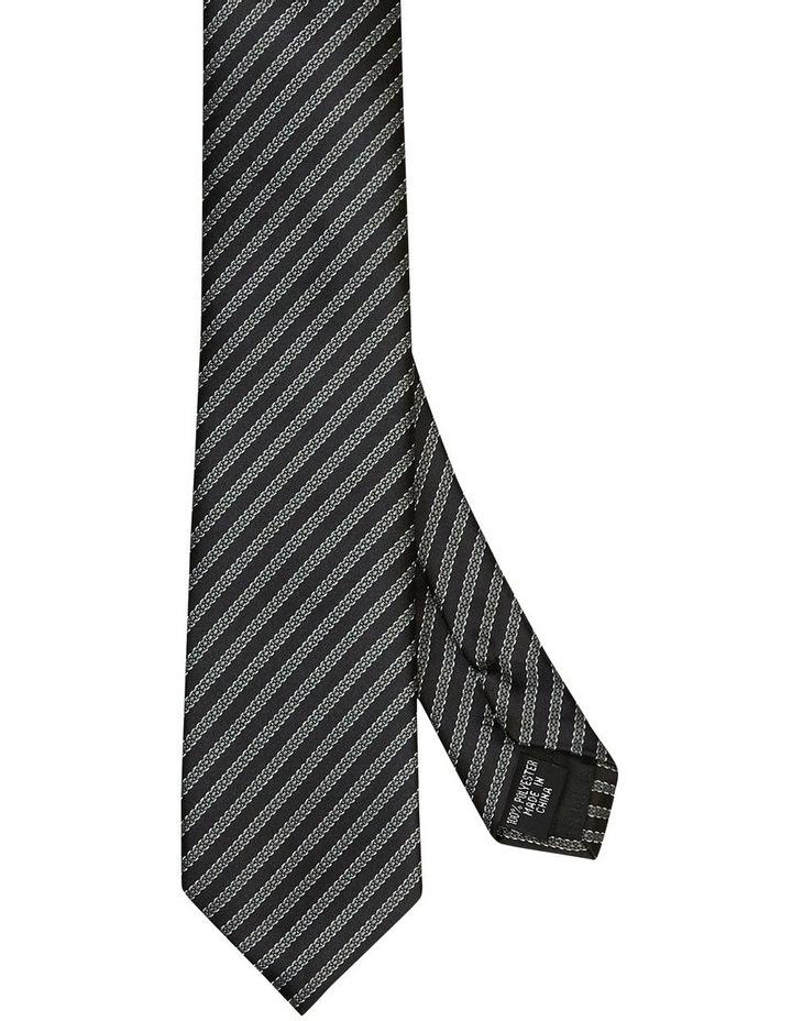 Chain Stripe Poly Tie Black image 1