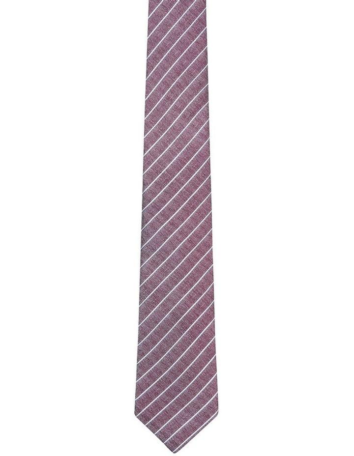 Pinstripe Textured Tie Red image 1