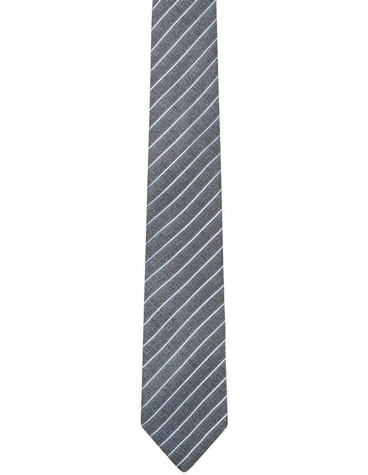 Pinstripe Textured Tie Grey image 1
