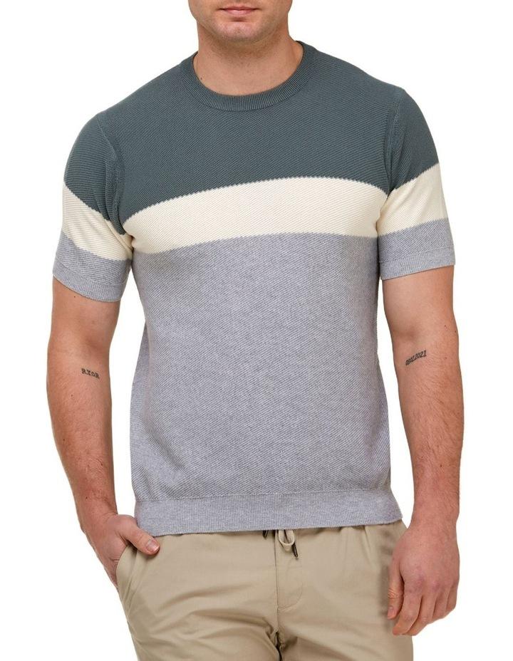 Color Block Knit T-Shirt  Grey image 1
