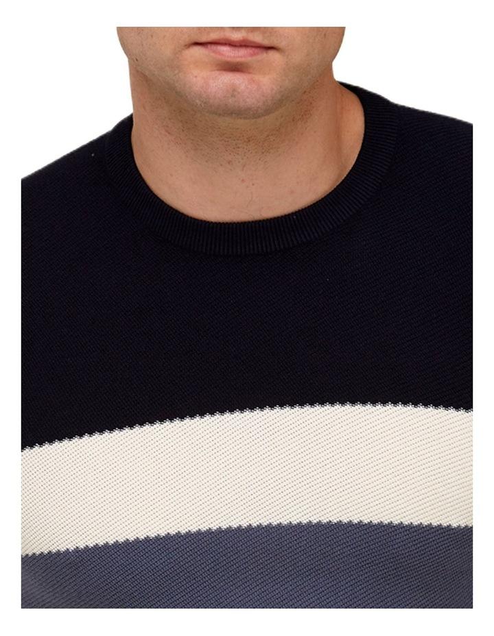 Color Block Knit T-Shirt  Navy image 2