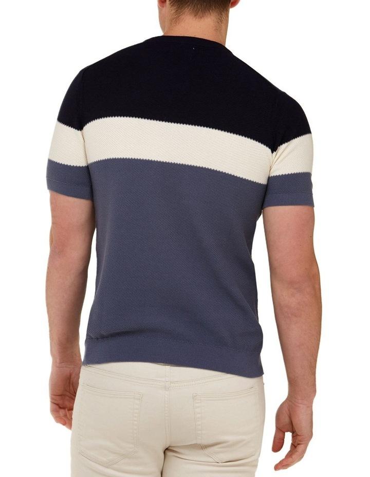 Color Block Knit T-Shirt  Navy image 3