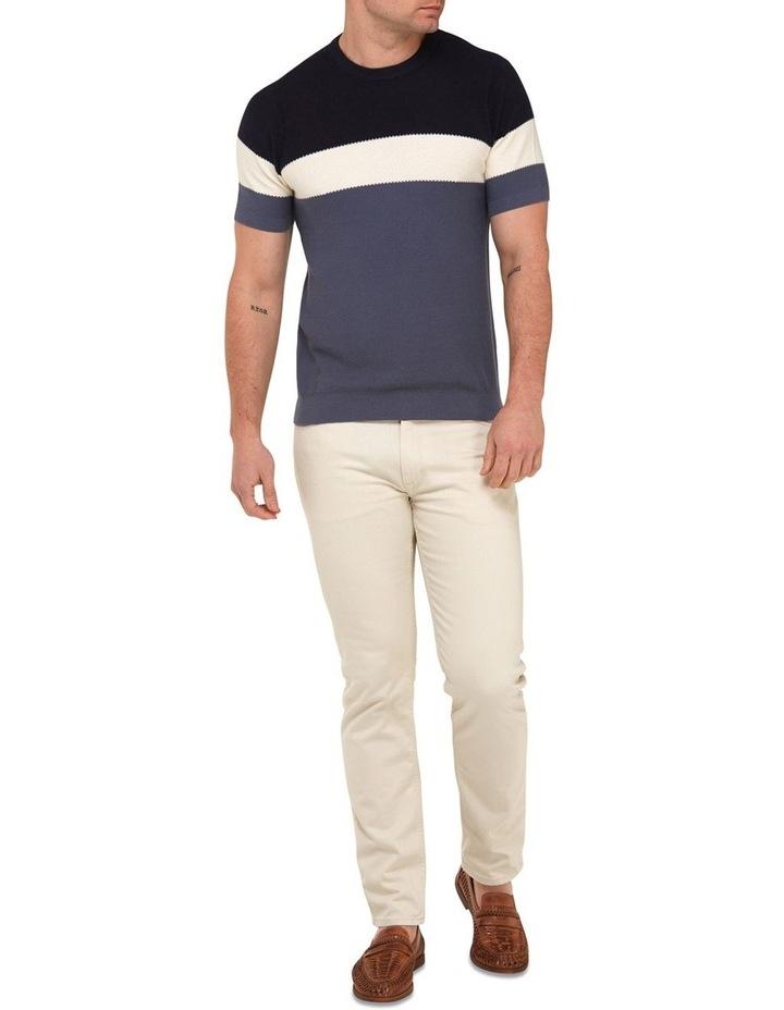 Color Block Knit T-Shirt  Navy image 4