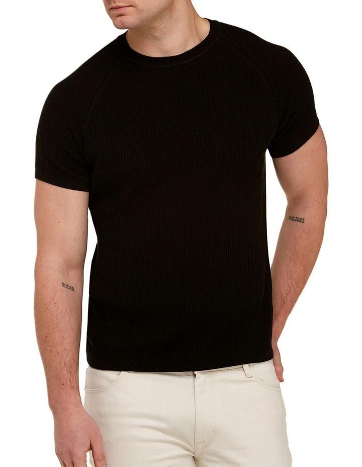 Raglan Sleeve Knit T-Shirt  Black image 1