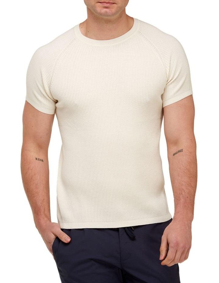 Raglan Sleeve Knit T-Shirt  Off White image 1
