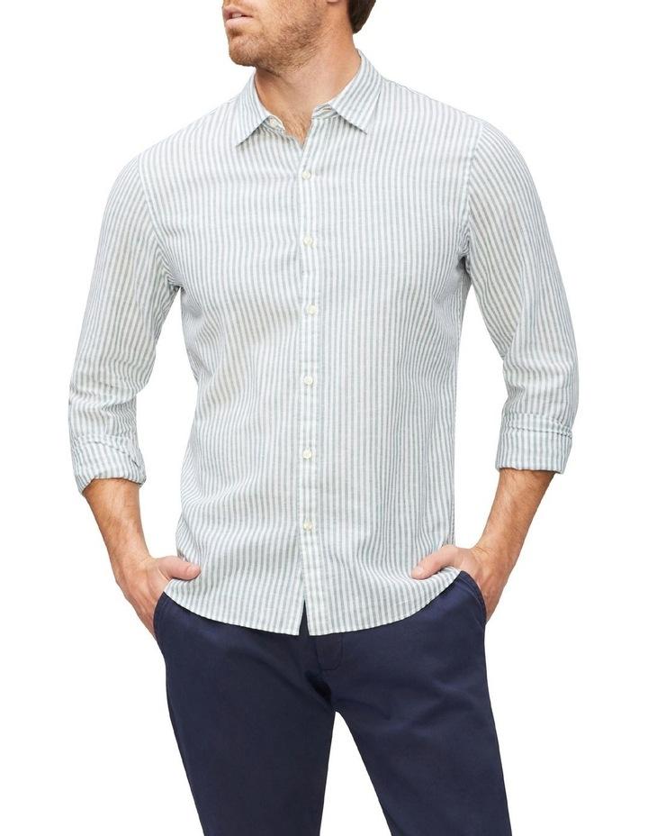 Wide Stripe Linen Shirt Green image 1