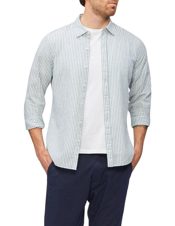 Wide Stripe Linen Shirt Green image 2