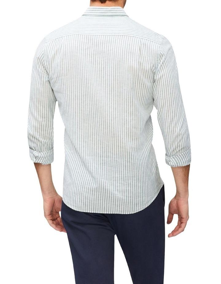 Wide Stripe Linen Shirt Green image 3