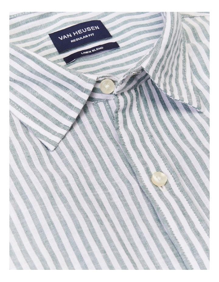 Wide Stripe Linen Shirt Green image 4