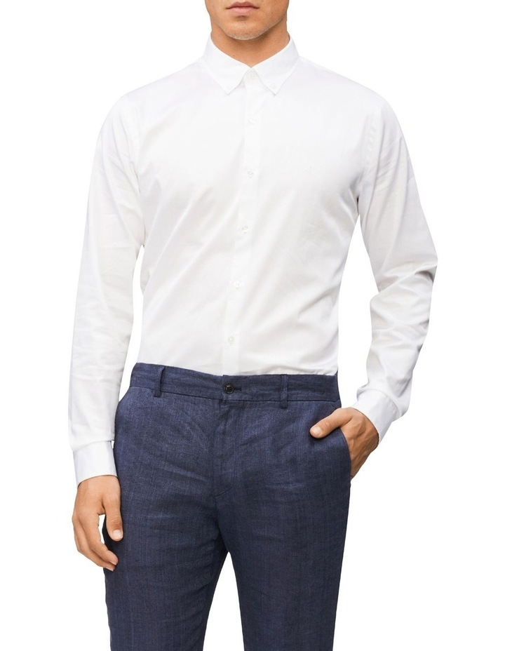 Casual Long Sleeve Sateen Shirt White image 1