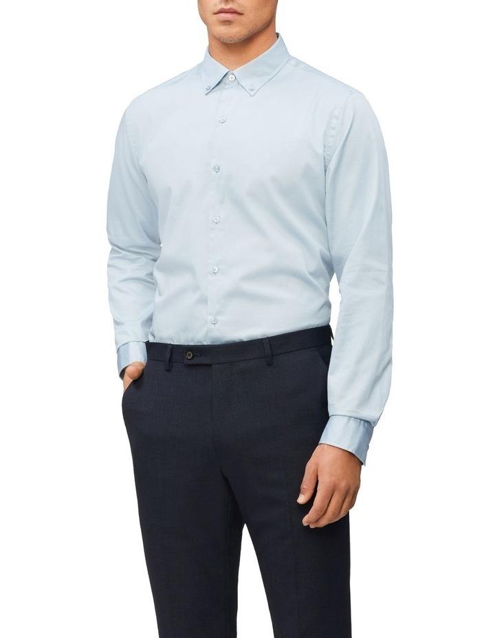 Casual Long Sleeve Sateen Shirt Blue Grey image 1