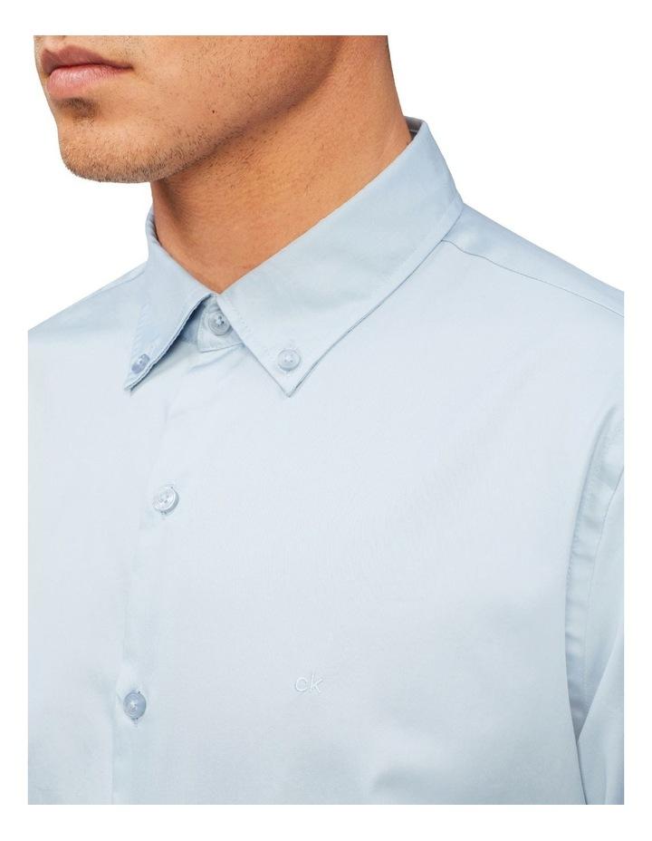Casual Long Sleeve Sateen Shirt Blue Grey image 2
