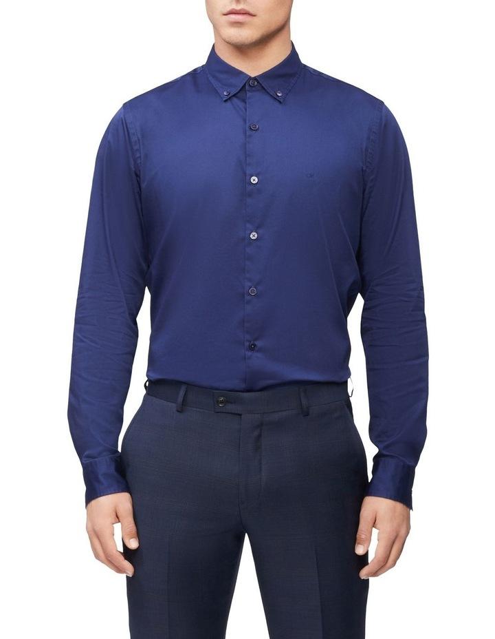 Casual Long Sleeve Sateen Shirt Navy image 1