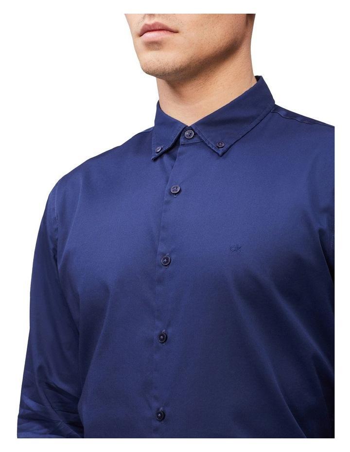 Casual Long Sleeve Sateen Shirt Navy image 2