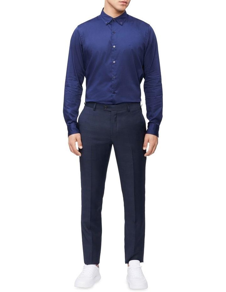 Casual Long Sleeve Sateen Shirt Navy image 3