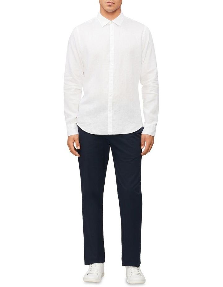 Casual Long Sleeve Linen Shirt White image 2