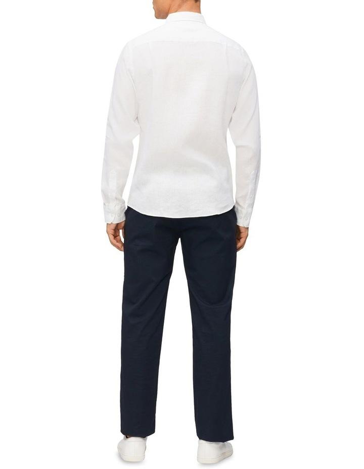 Casual Long Sleeve Linen Shirt White image 3