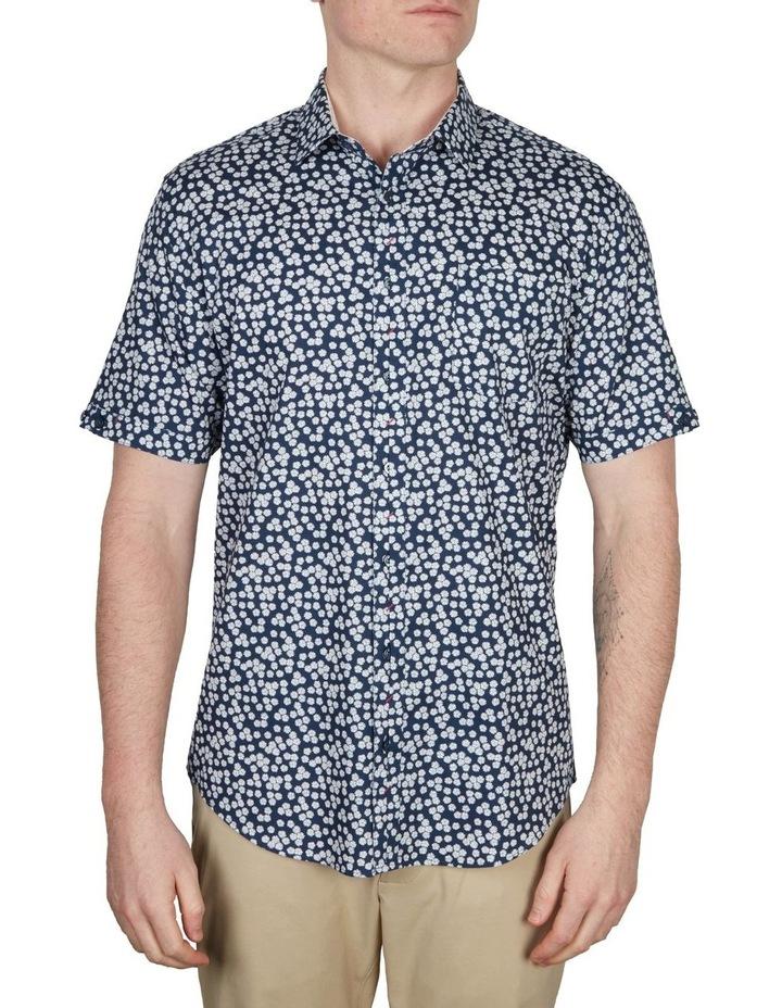 White Wattle Print Short Sleeve Shirt Navy image 1