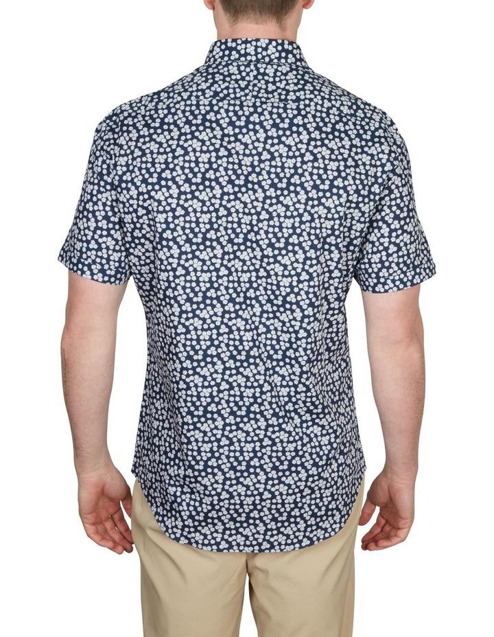 White Wattle Print Short Sleeve Shirt Navy image 2