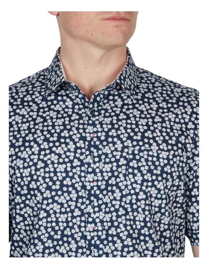 White Wattle Print Short Sleeve Shirt Navy image 3