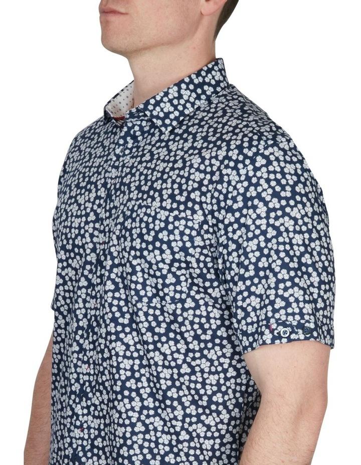 White Wattle Print Short Sleeve Shirt Navy image 4