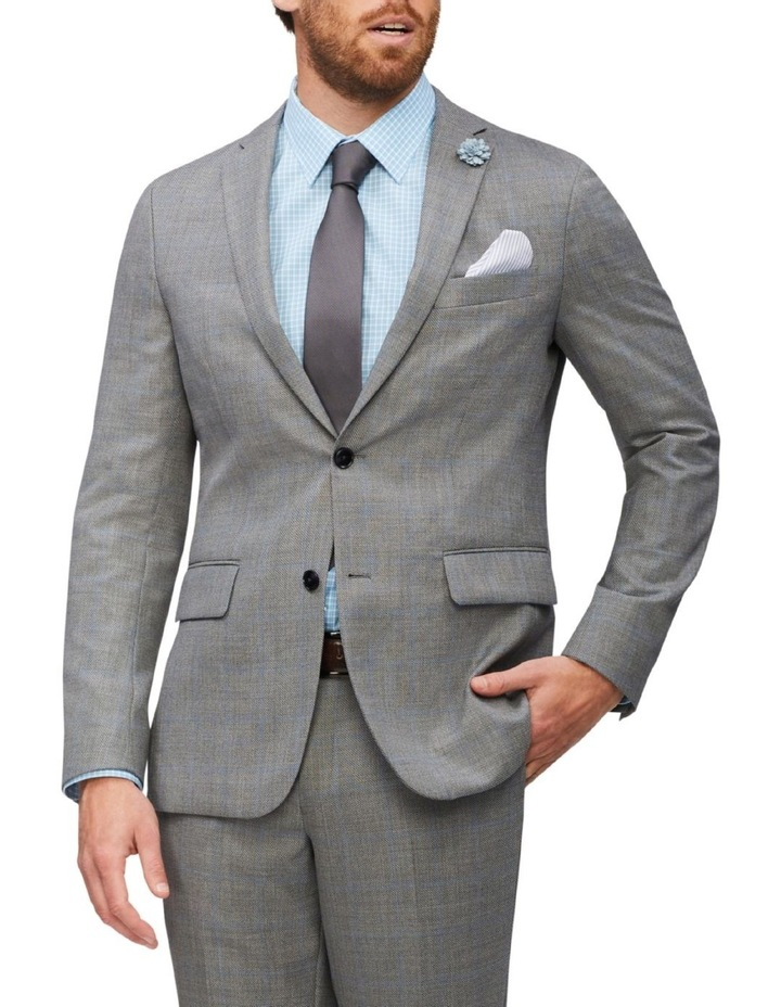 Tailored Wool Window Pane Suit Jacket Light Grey image 1