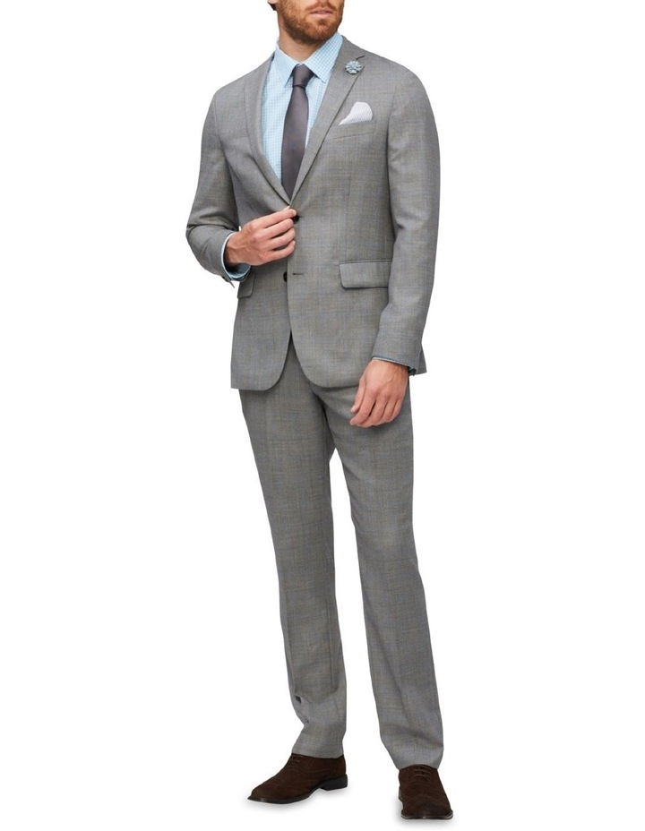 Tailored Wool Window Pane Suit Jacket Light Grey image 2