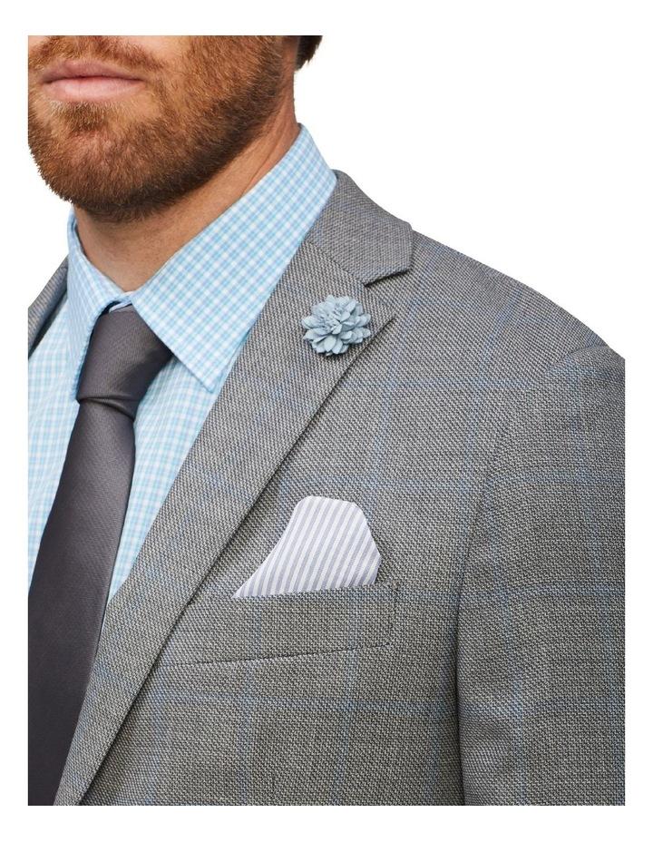 Tailored Wool Window Pane Suit Jacket Light Grey image 4