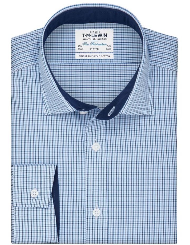 Fitted Blue Navy Check Twill Shirt image 1