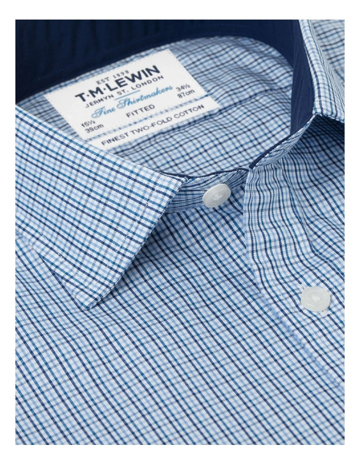 Fitted Blue Navy Check Twill Shirt image 2