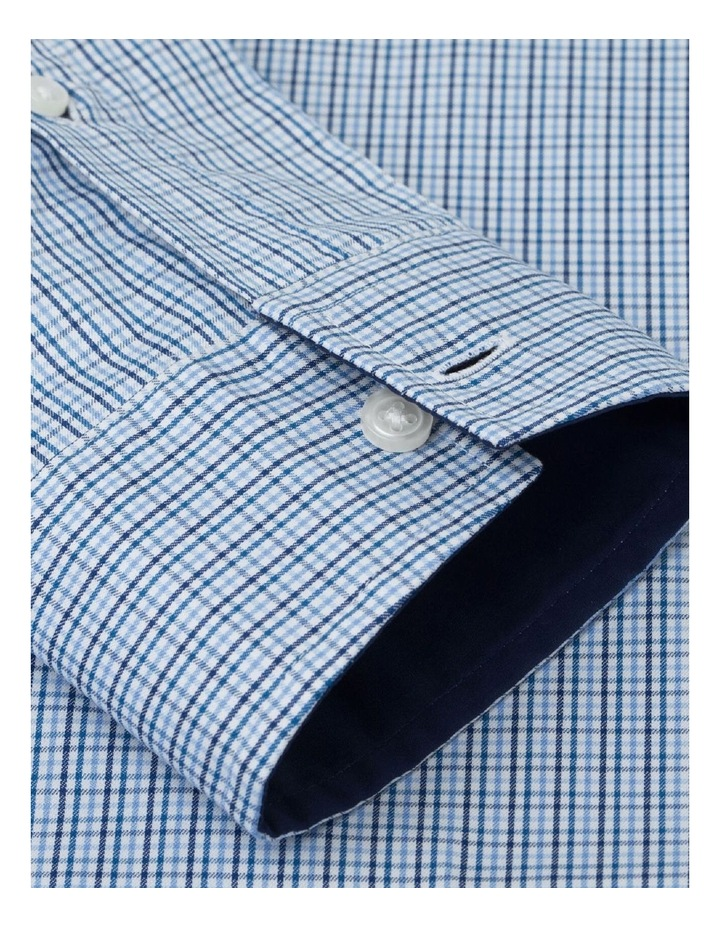 Fitted Blue Navy Check Twill Shirt image 3