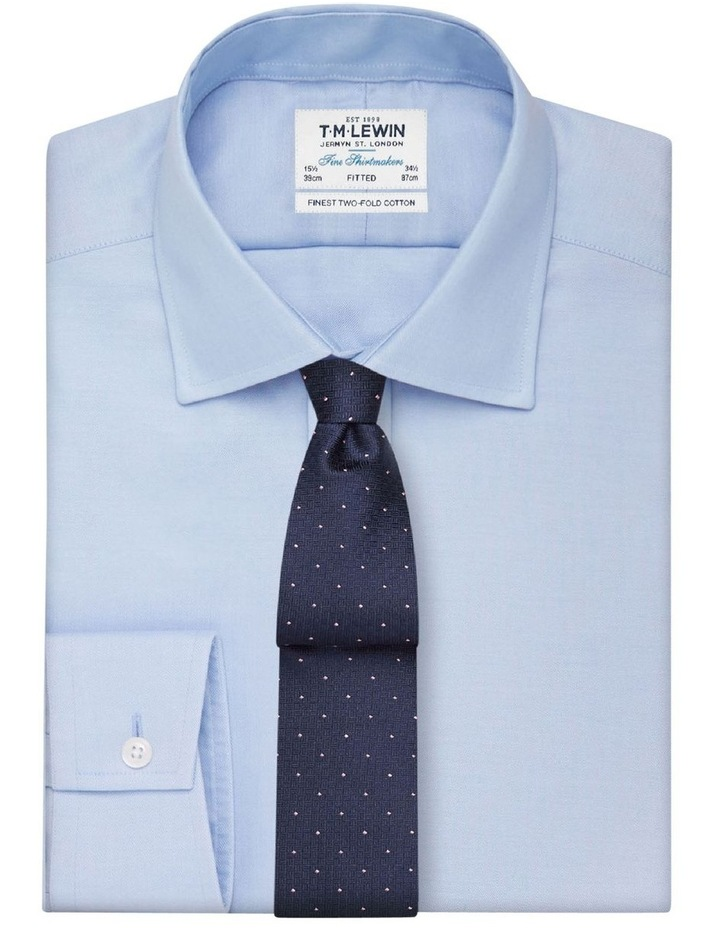 Fitted Plain Blue Luxury Twill Button Cuff Shirt image 1